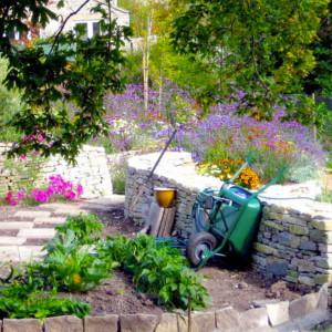 stonework, topsoil and paving in garden