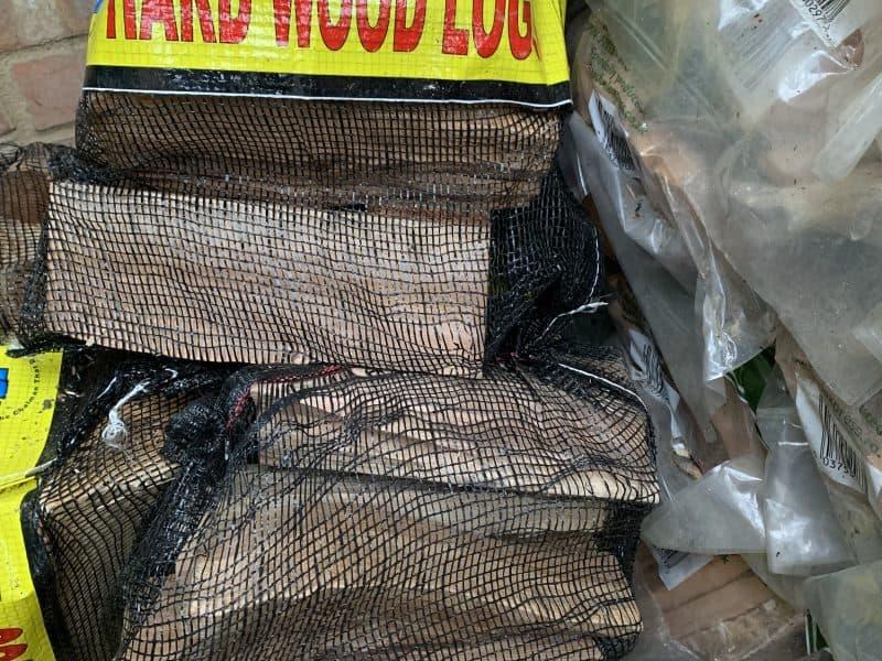bag of wood logs